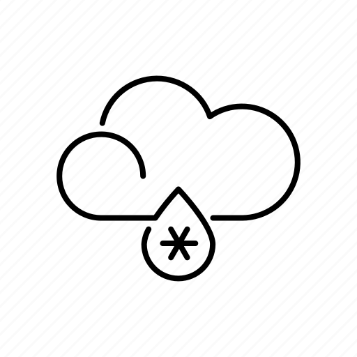climate, cloud, meteorology, raindrop, sleet, snowflake, weather icon