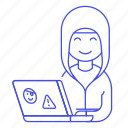 attack, coding, female, hacker, hacking, half, hoodie, laptop, malware, phishing, sticker