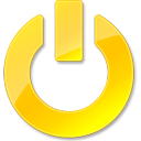 power, shut down, yellow icon
