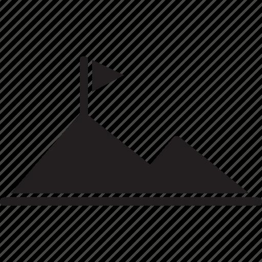achievement, complete, flag, goal, mission, mountain, success icon