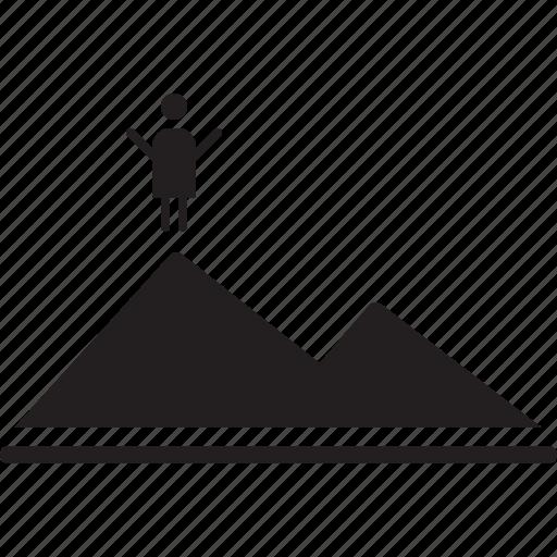 achievement, complete, goal, mission, mountain, peak, success icon