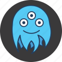 blue, cute, eyes, fun, happy, monster, octopus