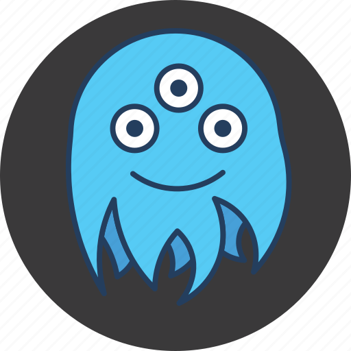 blue, cute, eyes, fun, happy, monster, octopus icon
