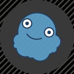 blob, blue, cute, fun, happy, monster icon
