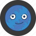 blue, cute, fun, happy, monster, moon, stripe icon