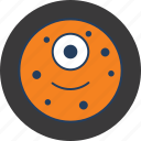 cookie, cute, fun, happy, monster, moon, orange icon