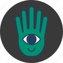 cute, eye, fun, green, hand, happy, monster icon