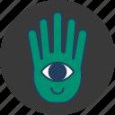 cute, eye, fun, green, hand, happy, monster icon
