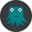 blue, cute, fun, green, happy, monster, octopus icon