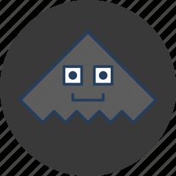cute, fun, gray, grey, happy, metal, monster icon