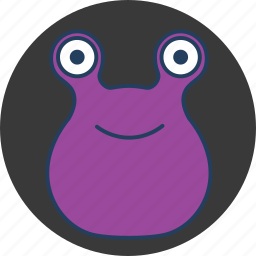 cute, eyes, fun, happy, monster, purple, two icon