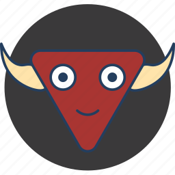 bull, cute, fun, happy, monster, red icon