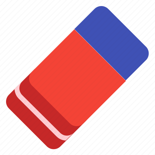 correction, eraser, office, red, tool icon