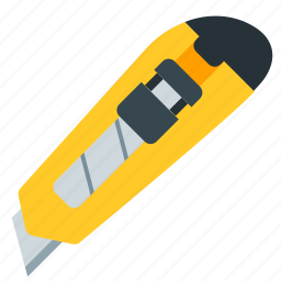 knife, office, tool, work, yellow icon