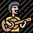 acoustic, guitarist, musician, performance, singer icon