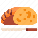 knife, sourdough, bakery, cut, bread, cutting icon
