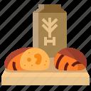 bakery, bread, flour, sourdough, wheat, whole icon