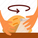 bread, hand, loaf, shape icon