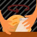 bread, hand, loaf, shape