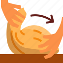 bread, dough, hand, stratch icon