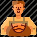 avatar, baker, bread, man, profile, sourdough, user