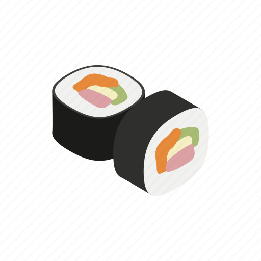 asian, fish, food, isometric, restaurant, sushi, traditional icon