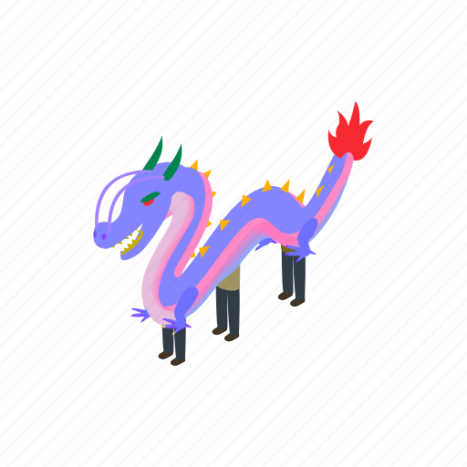 china, chinese, culture, dancing, decoration, dragon, isometric icon