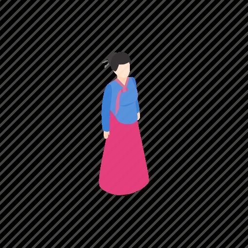 asia, dress, girl, isometric, korea, korean, woman icon