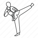 fight, fu, line, martial, master, outline, wushu icon