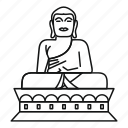 asia, background, buddha, line, outline, statue, white icon