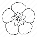 flower, korea, line, national, outline, rose, sharon icon