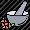 healthy, herb, medicine, mortar, pestle icon