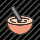 bowl, cake, cooking, dough, hand, mixing, stir
