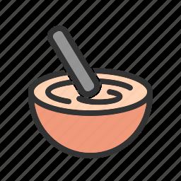bowl, cake, cooking, dough, hand, mixing, stir icon