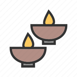 bowl, candle, candles, flame, light, spa, wax icon
