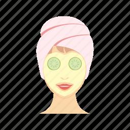 beauty, face, facial, mask, salon, spa, woman icon