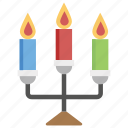burning candle, candle light, candle with stand, decorative candle, light stand icon