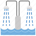 bathroom concept, bathtub shower, sprinkler, toilet shower, water shower icon