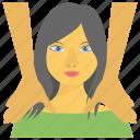 body health, body massage, fitness, massage, oiling, shoulder massage, spa icon