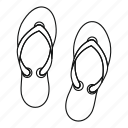 beach, beauty, casual, clothing, flipflop, line, outline icon