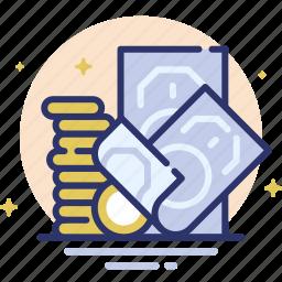 bills, coins, finance, money, profit icon