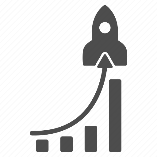 analysis, analytics, chart, charts, graph, rocket, success business icon
