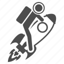 astronaut, business startup, project start, rocket science, satellite launch, space ship, spaceman icon