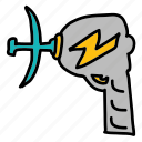 danger, fiction, gun, science, space, zap icon