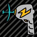 danger, fiction, gun, science, space, zap icon
