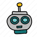 artificial intelligence, friendly, head, robot, space icon