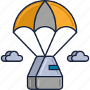 delivery, flying, package, parachute, parcel, space capsule, supply drop icon