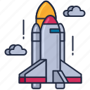 launch, rocket, rocket launch, shuttle, space, space shuttle, space shuttle launch icon