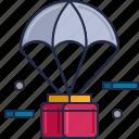 air drop, air supplies, air supply, parachute, space delivery, supply drop icon