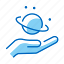 astronomy, hand, planet, saturn, space icon